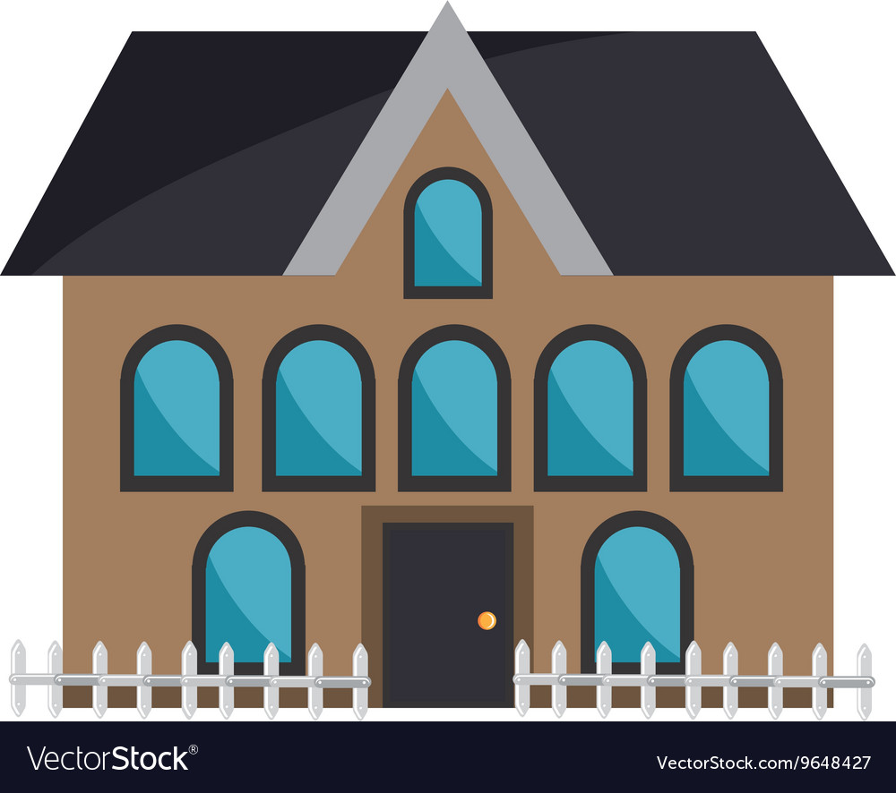 Brown house and coloful windows graphic vector image