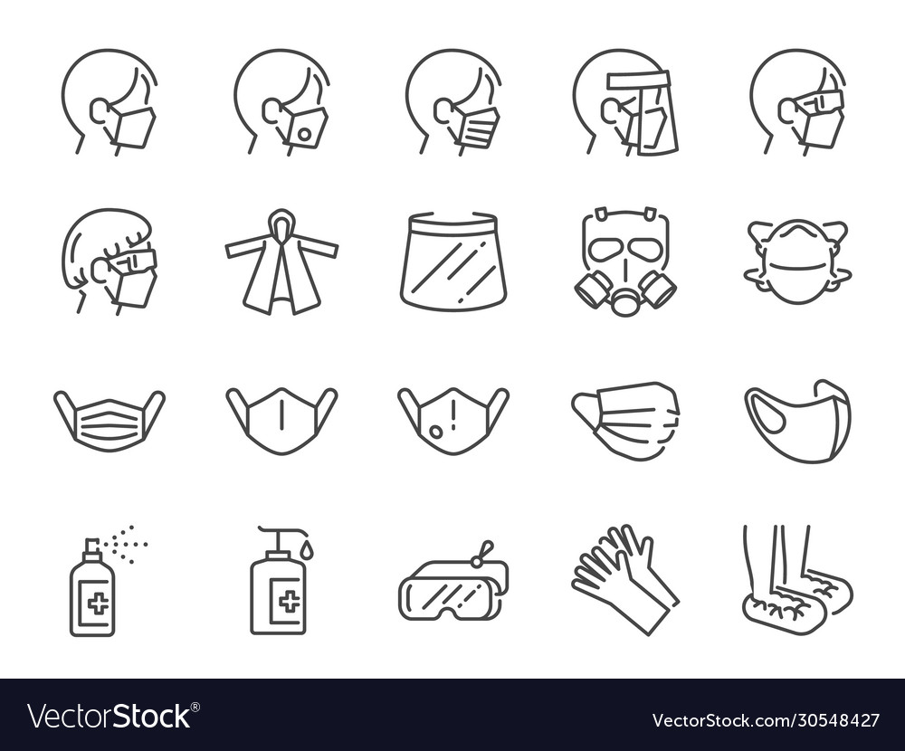Covid19-19 protection equipments line icon set