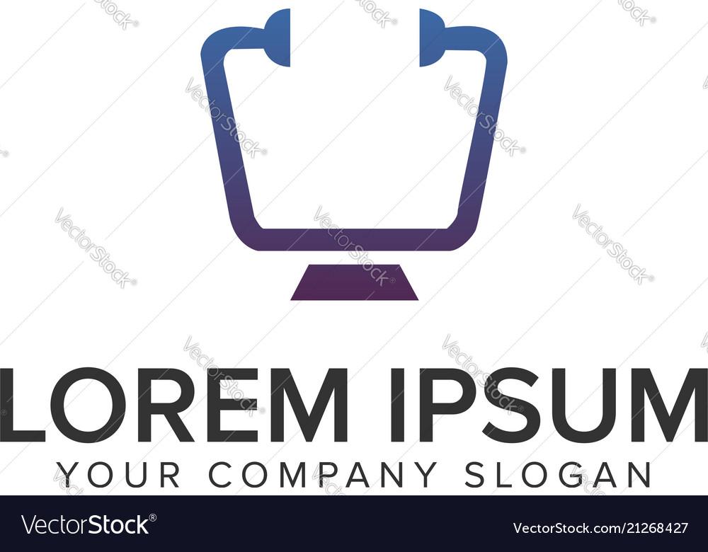 Desktop screen doctor logo design concept template