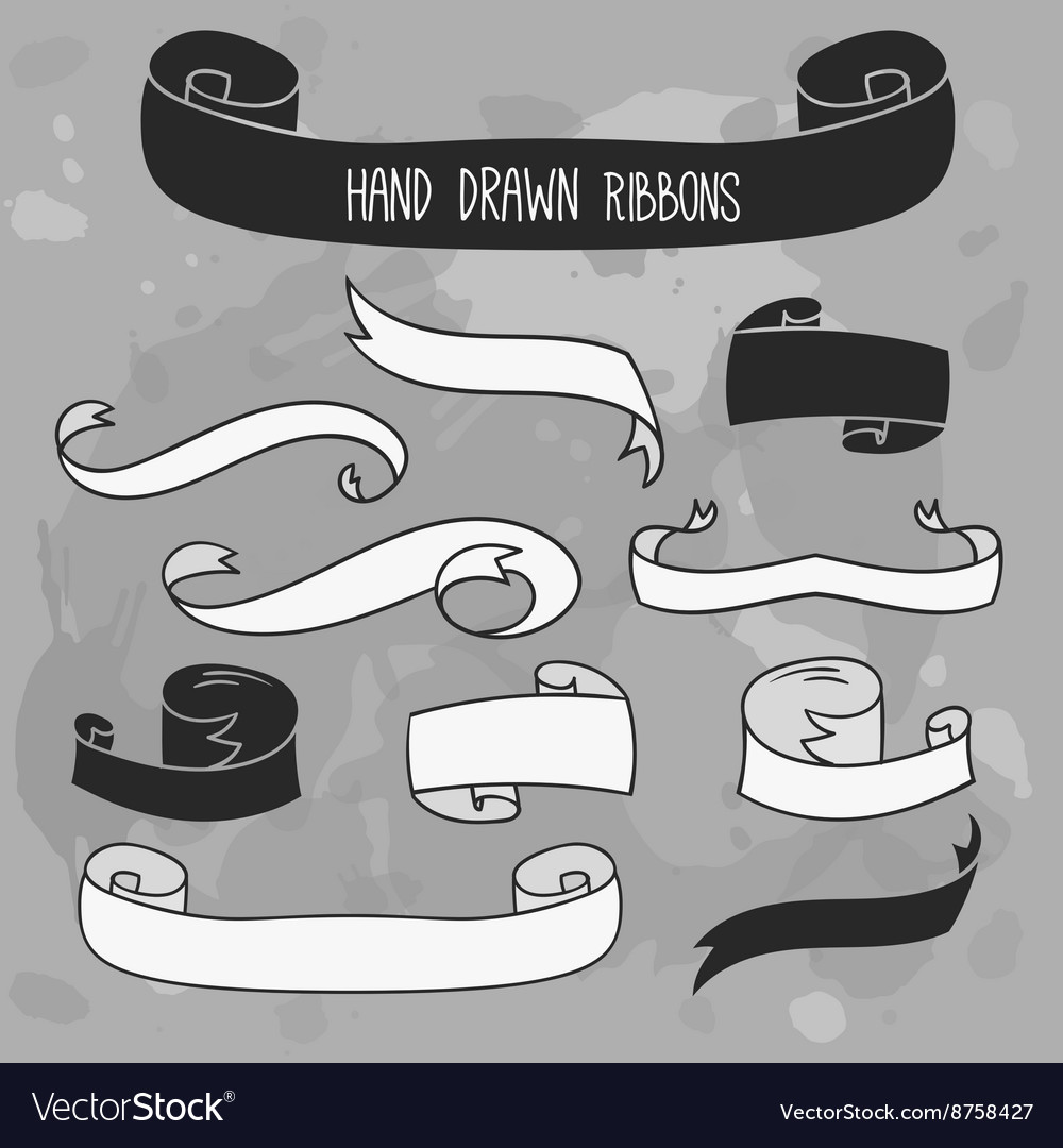 Hand drawn ribbons set banners on grunge vector image