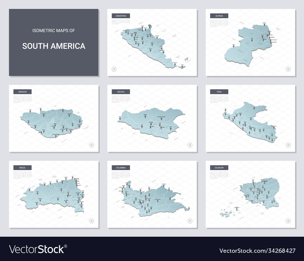 Isometric maps set - america continent maps of