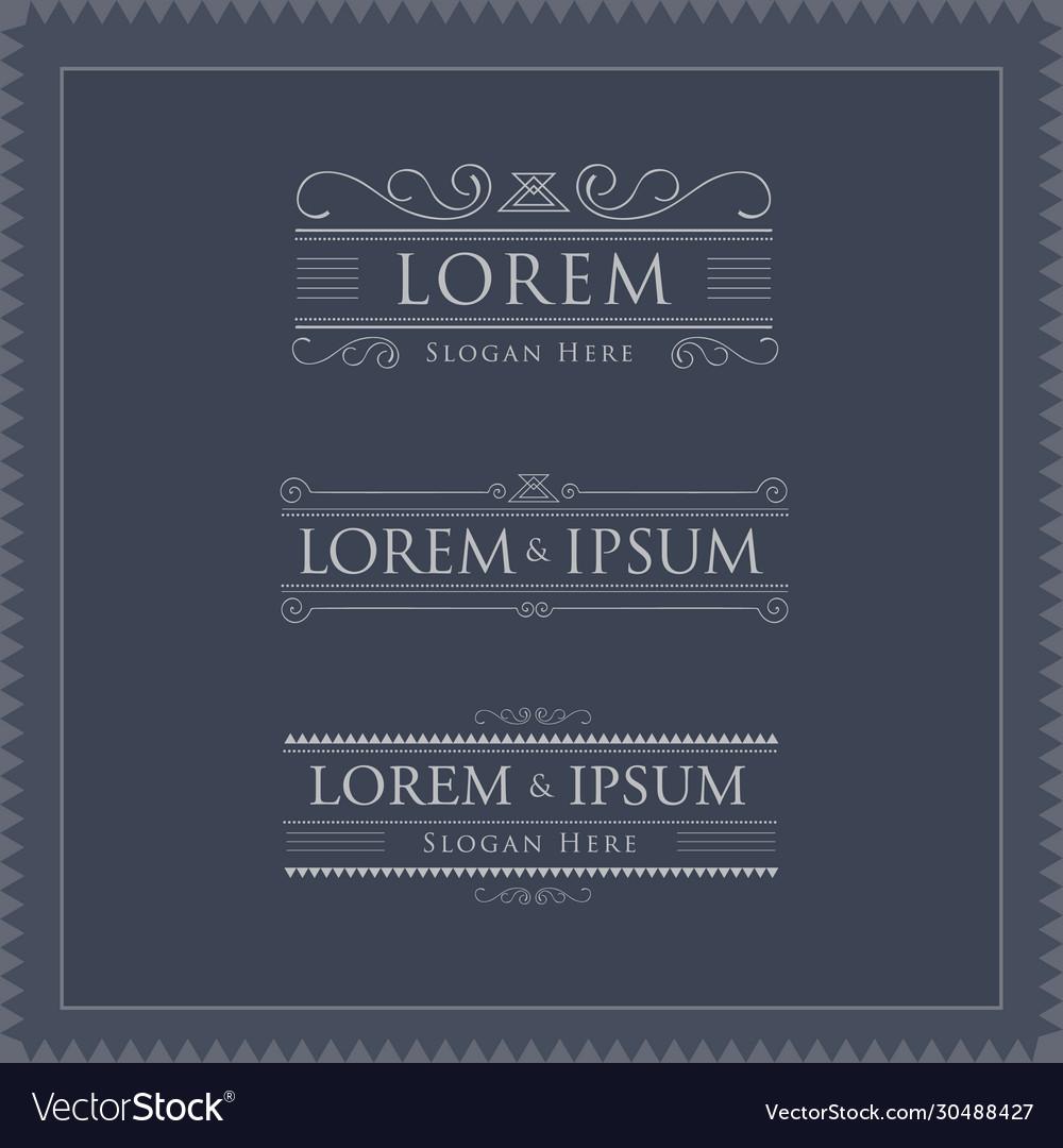 Luxury logos template flourishes calligraphy