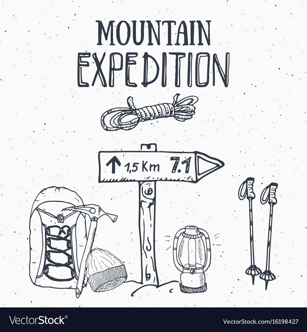 Mountain expedition vintage set hand drawn sketch