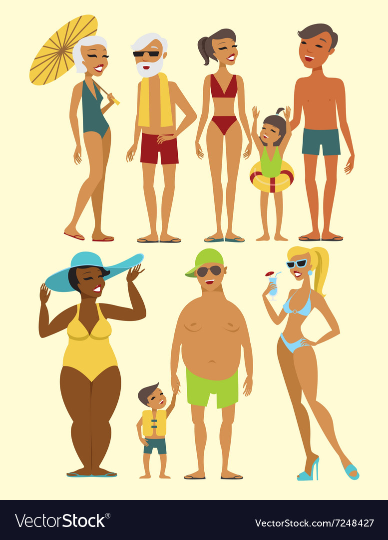 Set of beach people characters
