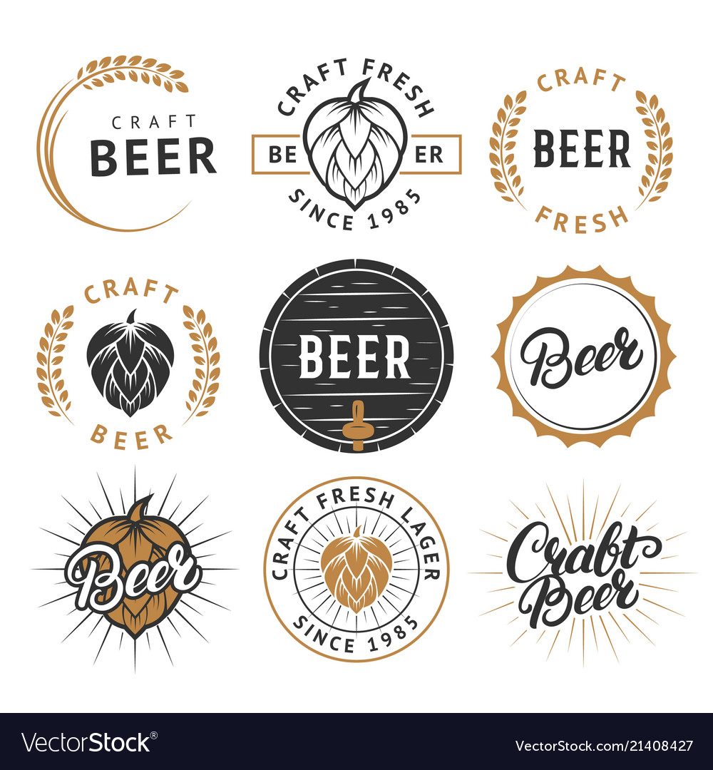 Set vintage craft beer labels badges