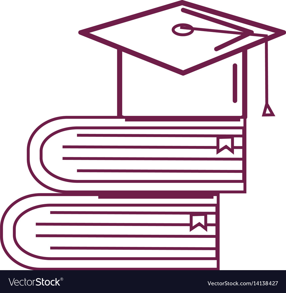 Silhouette books tools with graduation cap icon