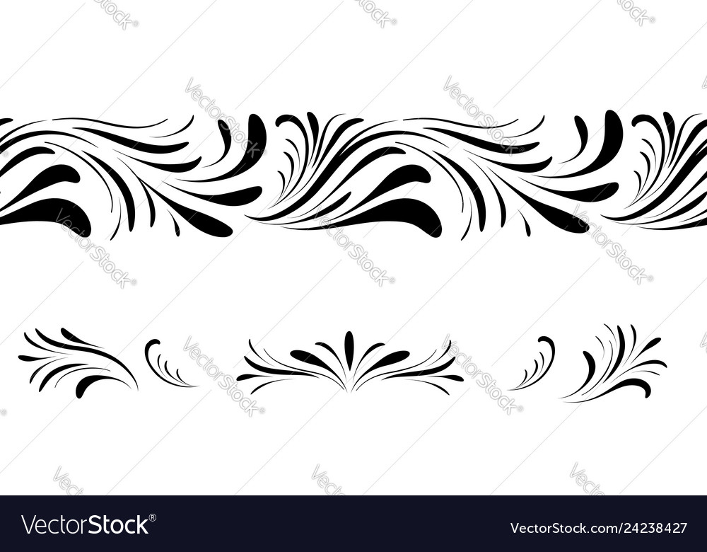 Swirl floral seamless pattern design element set