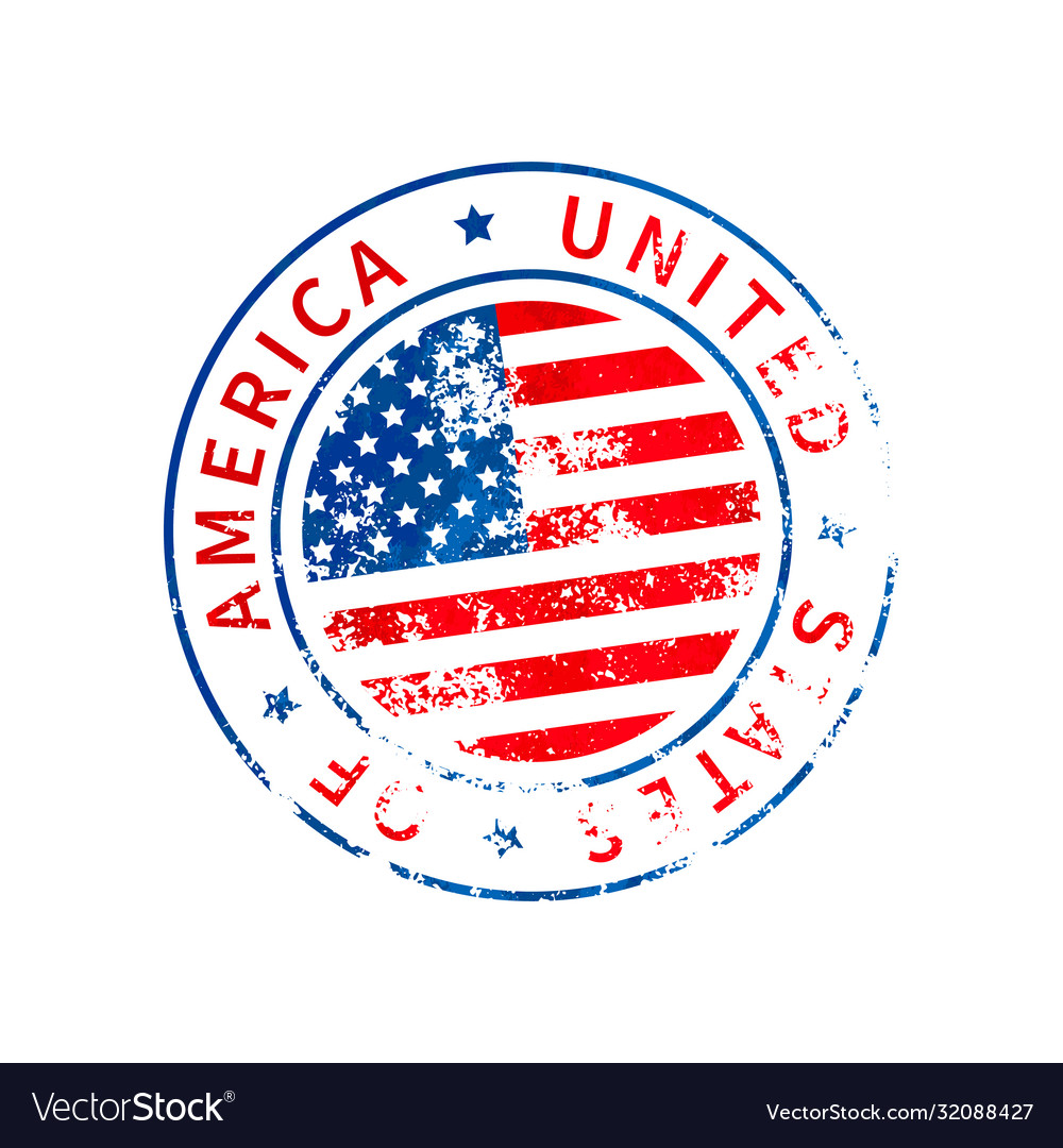 Usa sign vintage grunge imprint with flag on vector