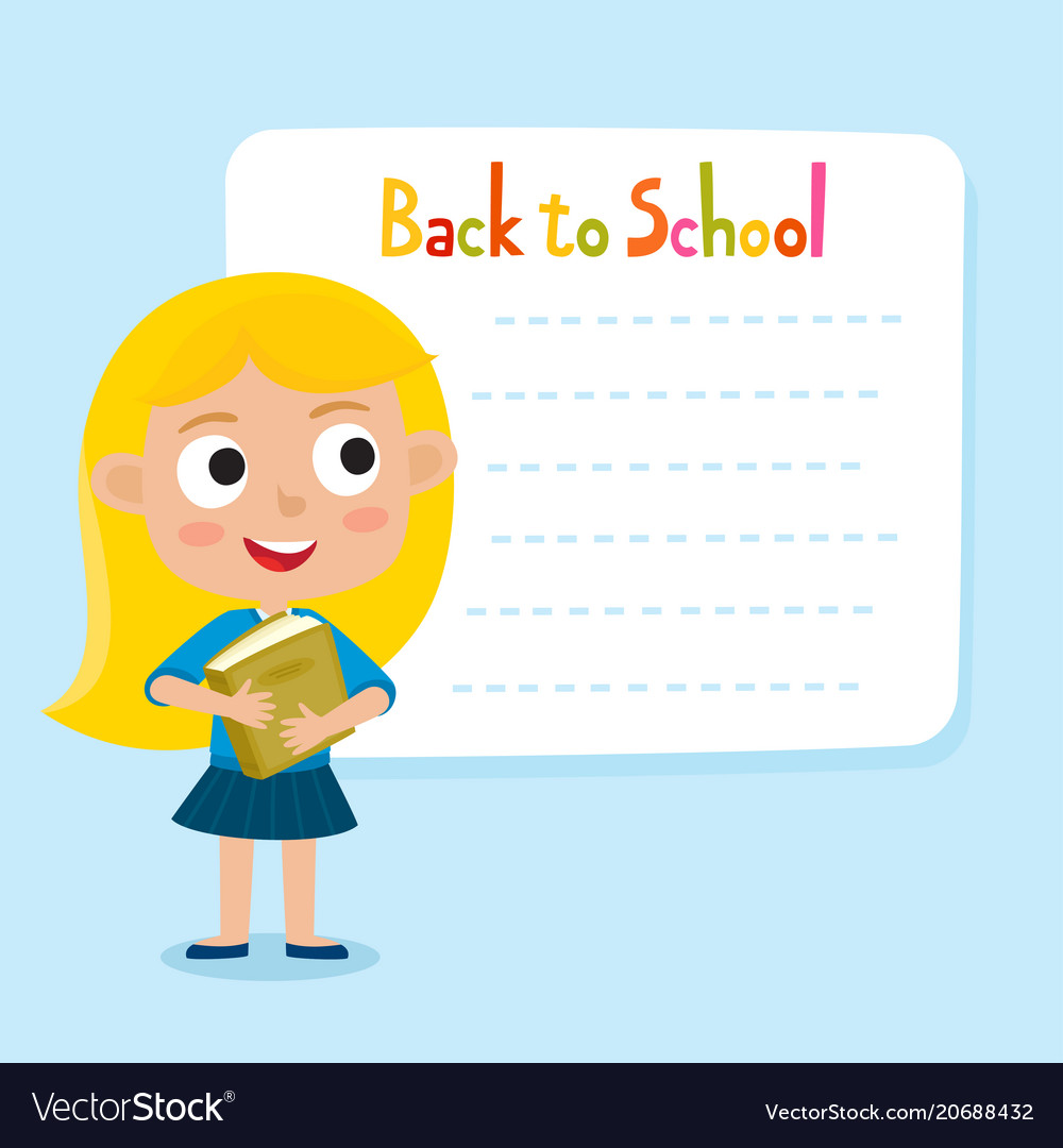 Cute little blonde girl with a blank poster for