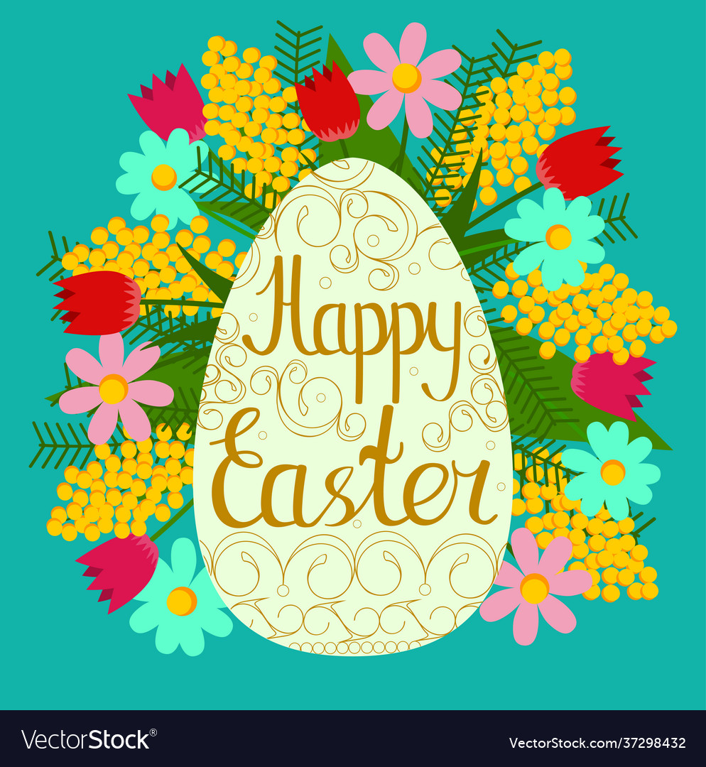 Festive postcard to happy easter color