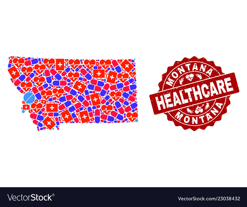 Healthcare Collage Of Mosaic Map Of Montana State Vector Image