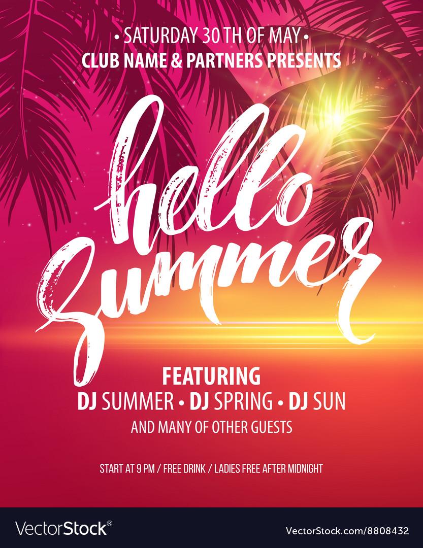 Hello summer party flyer design