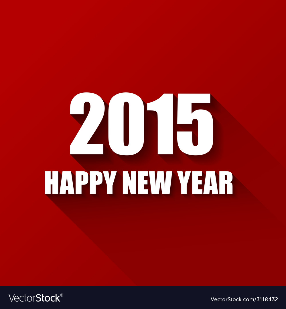 modern red simple happy new year card 2015 vector image
