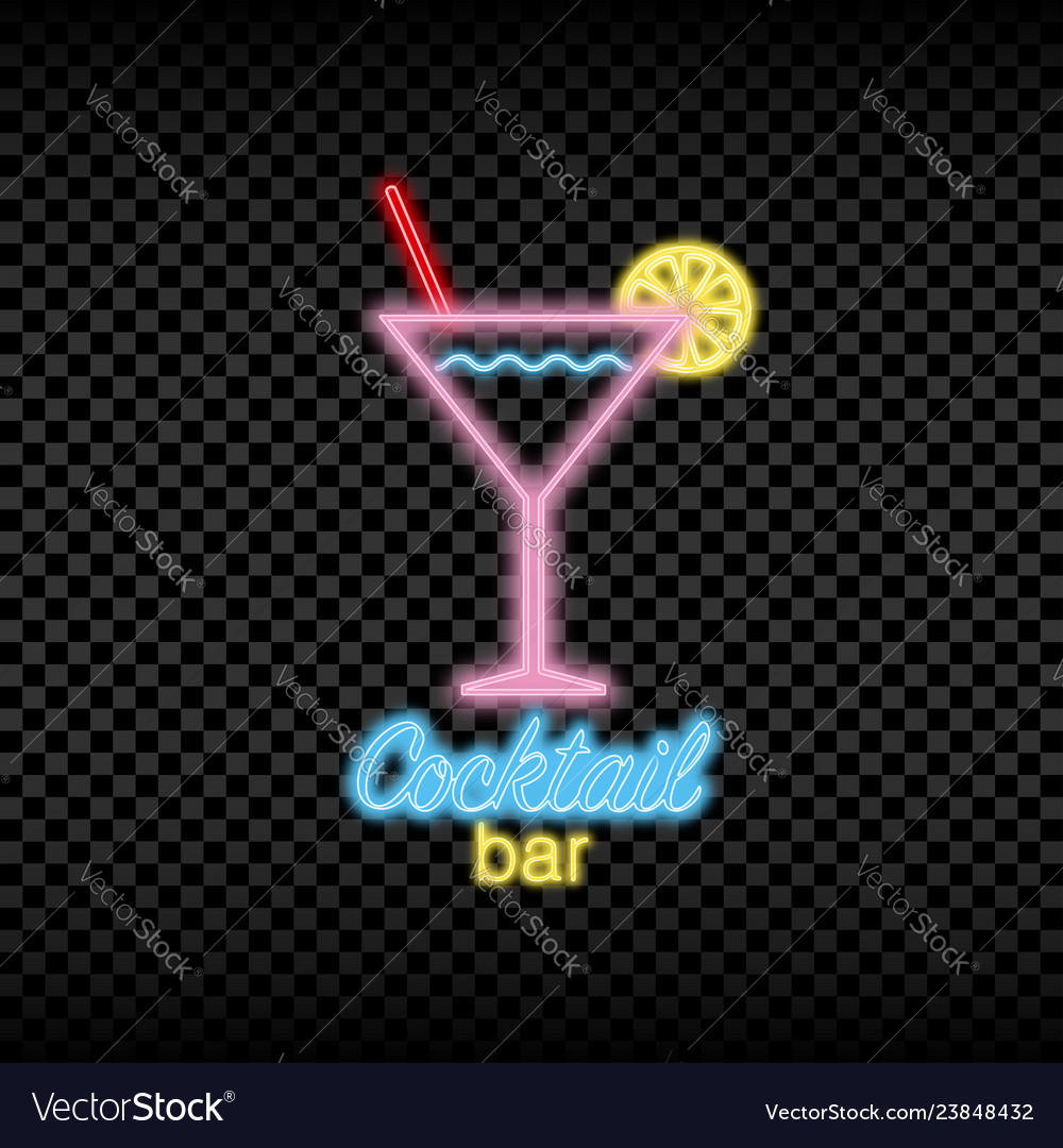 Neon light sign of cocktail bar