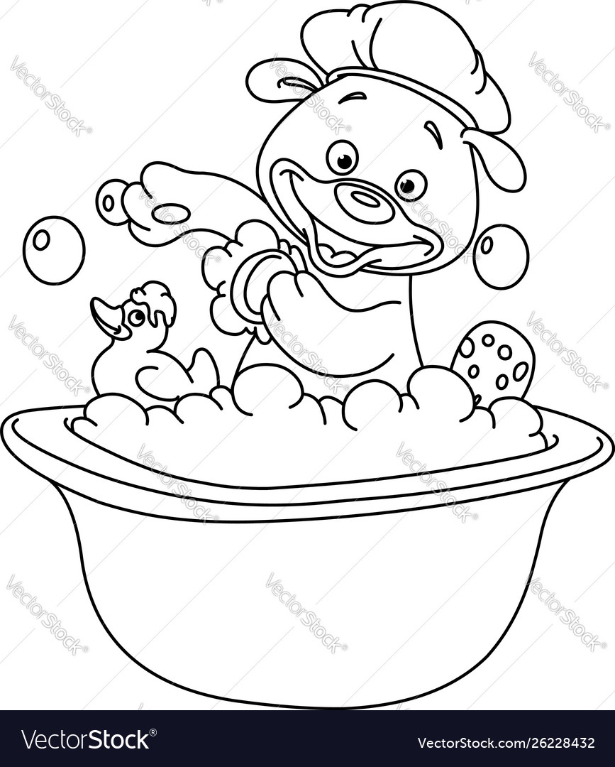 Outlined teddy bear taking a bath