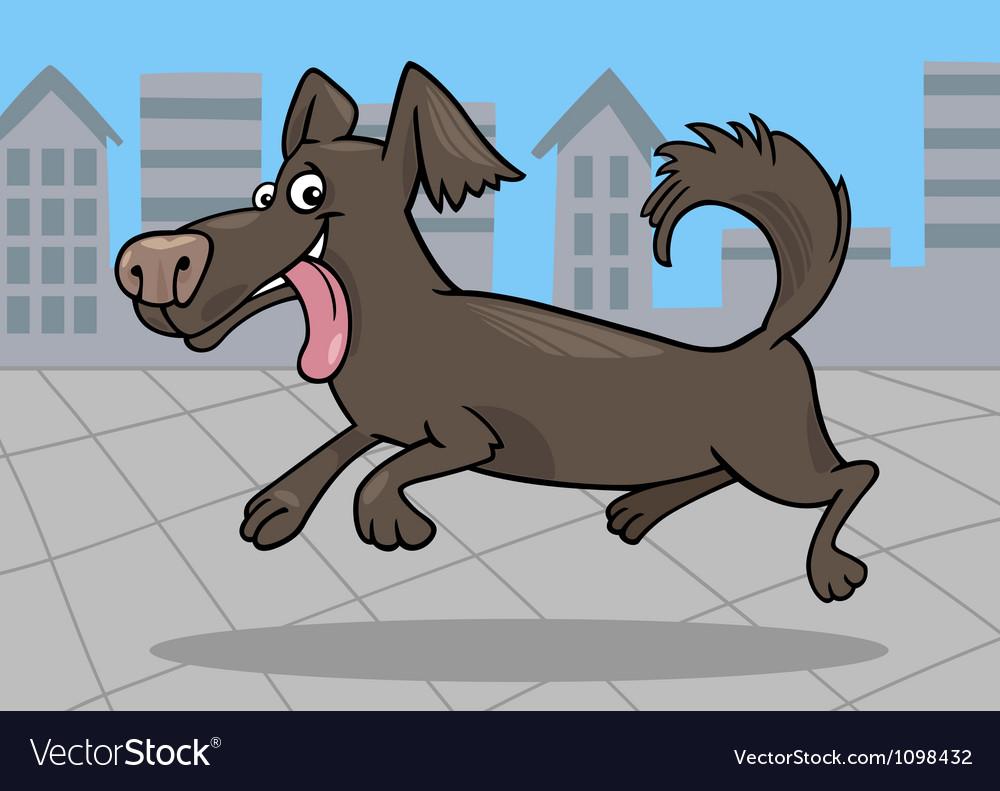 Running little dog cartoon