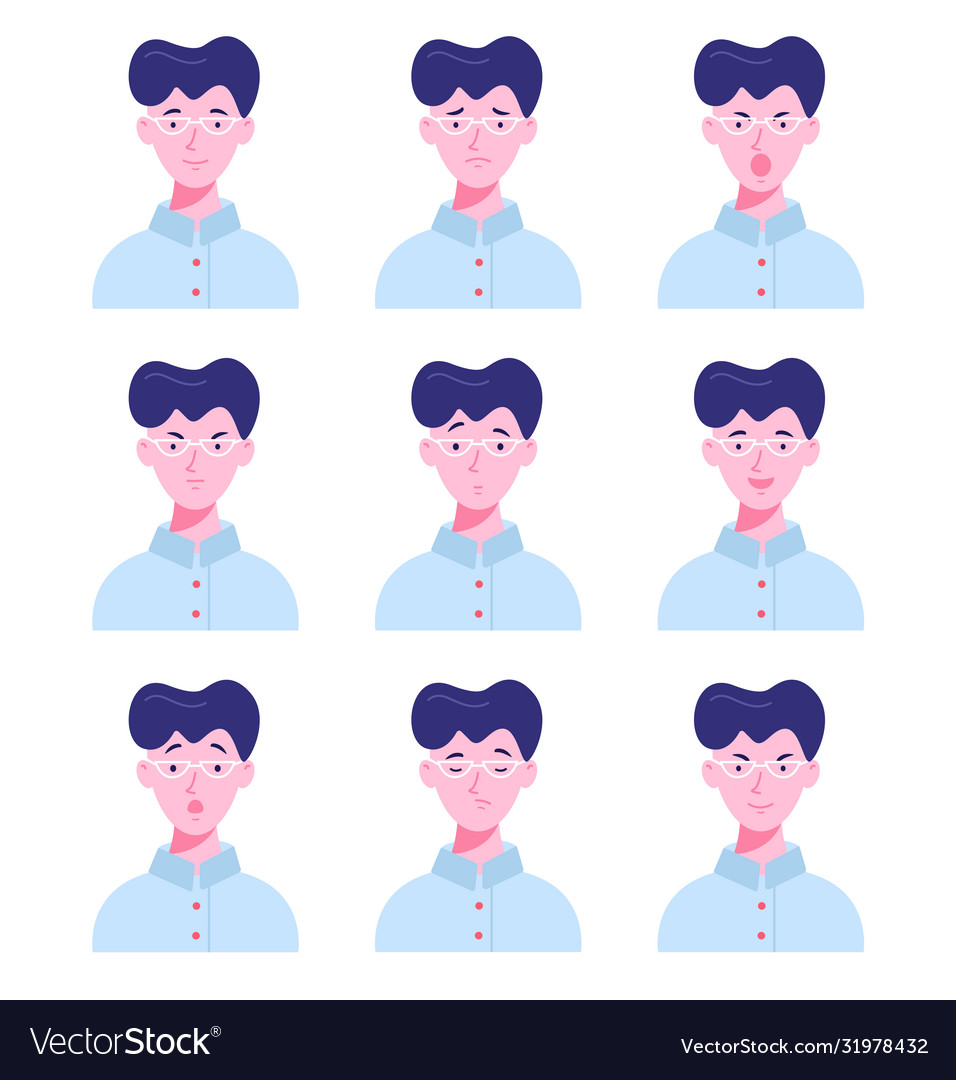 Set male avatars with different emotions