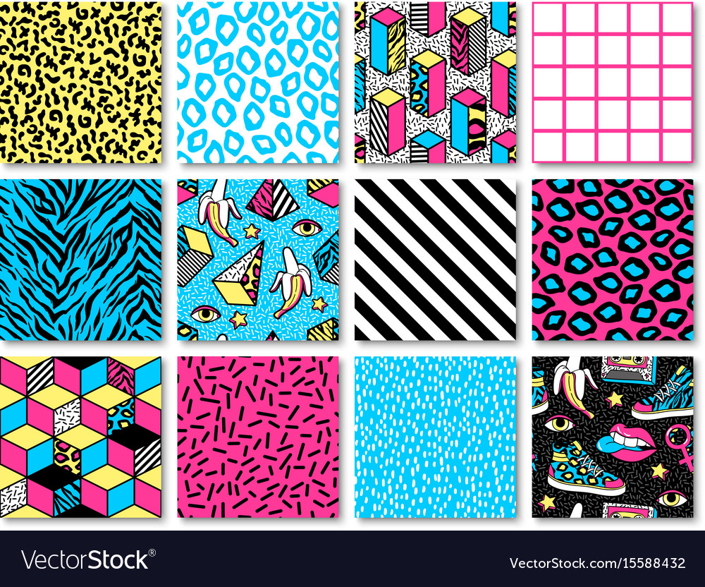 Set of seamless patterns in 80s-90s memphis style
