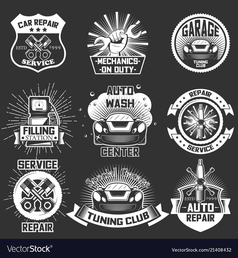 Set vintage car service labels badges