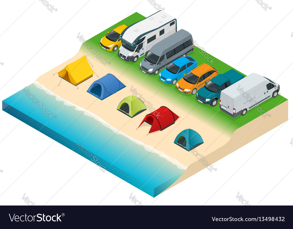 Summer camping and tent near a river or lake flat vector image