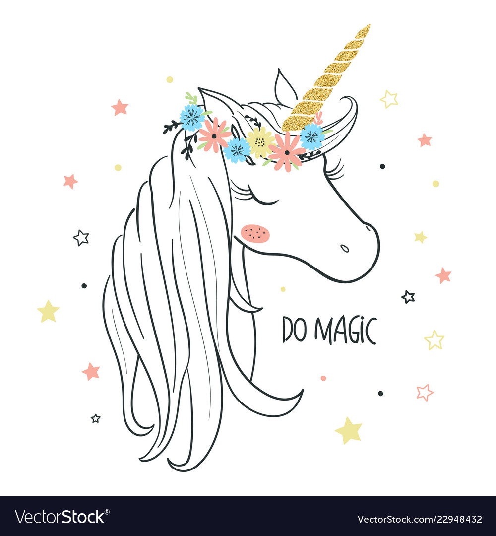Unicorn Head For Kids Royalty Free Vector Image