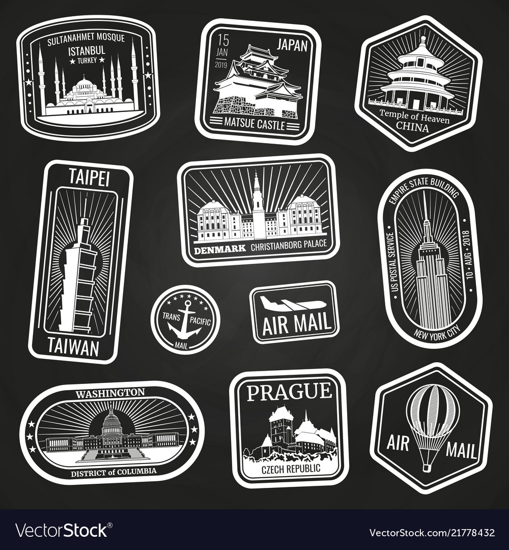 White travel stamps with monuments and landmarks