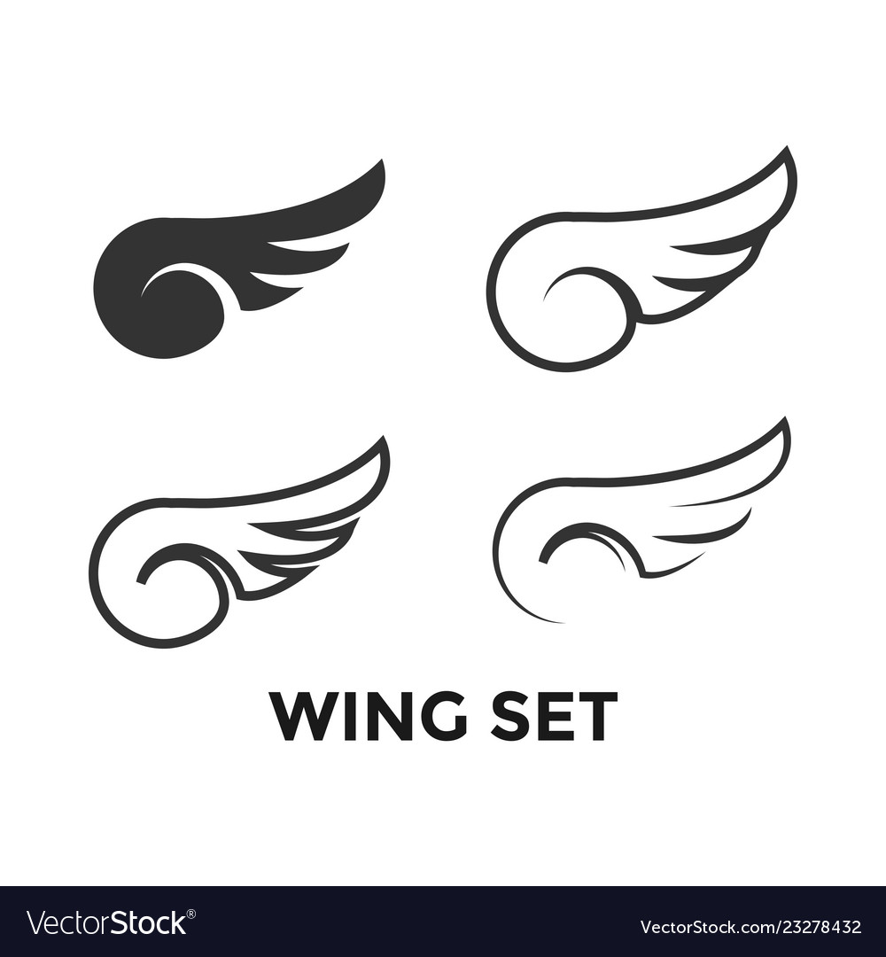 Wing set graphic icon design template