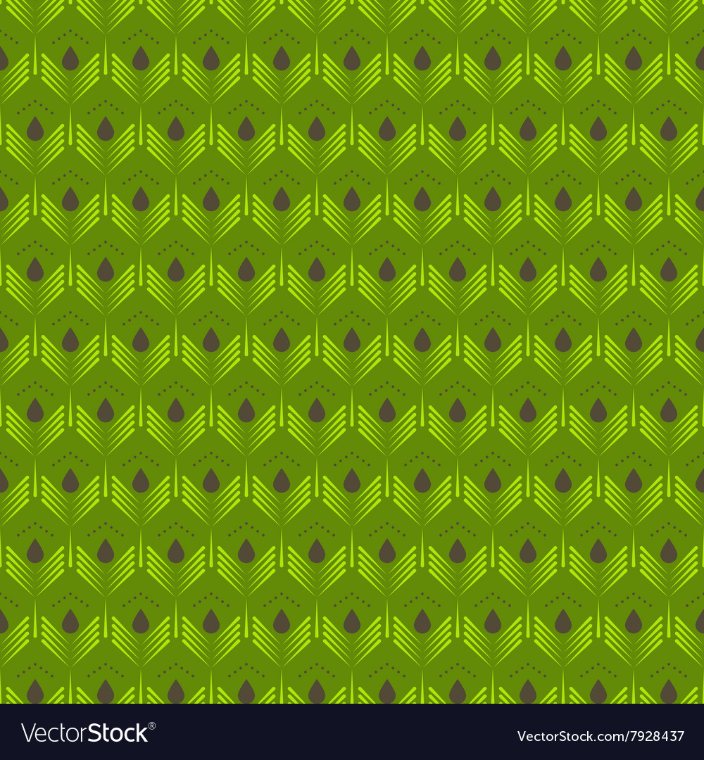 Abstract green leaves seamless pattern