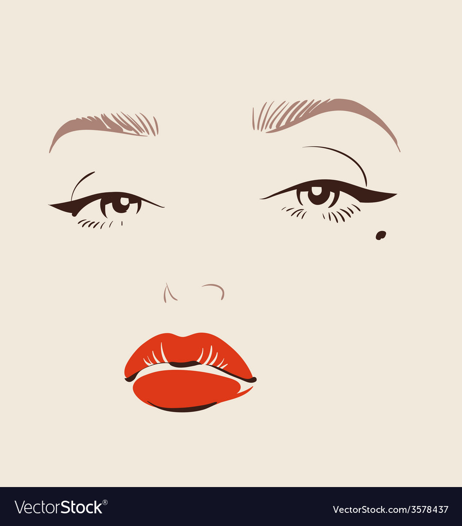 Beautiful woman face with red lips make up