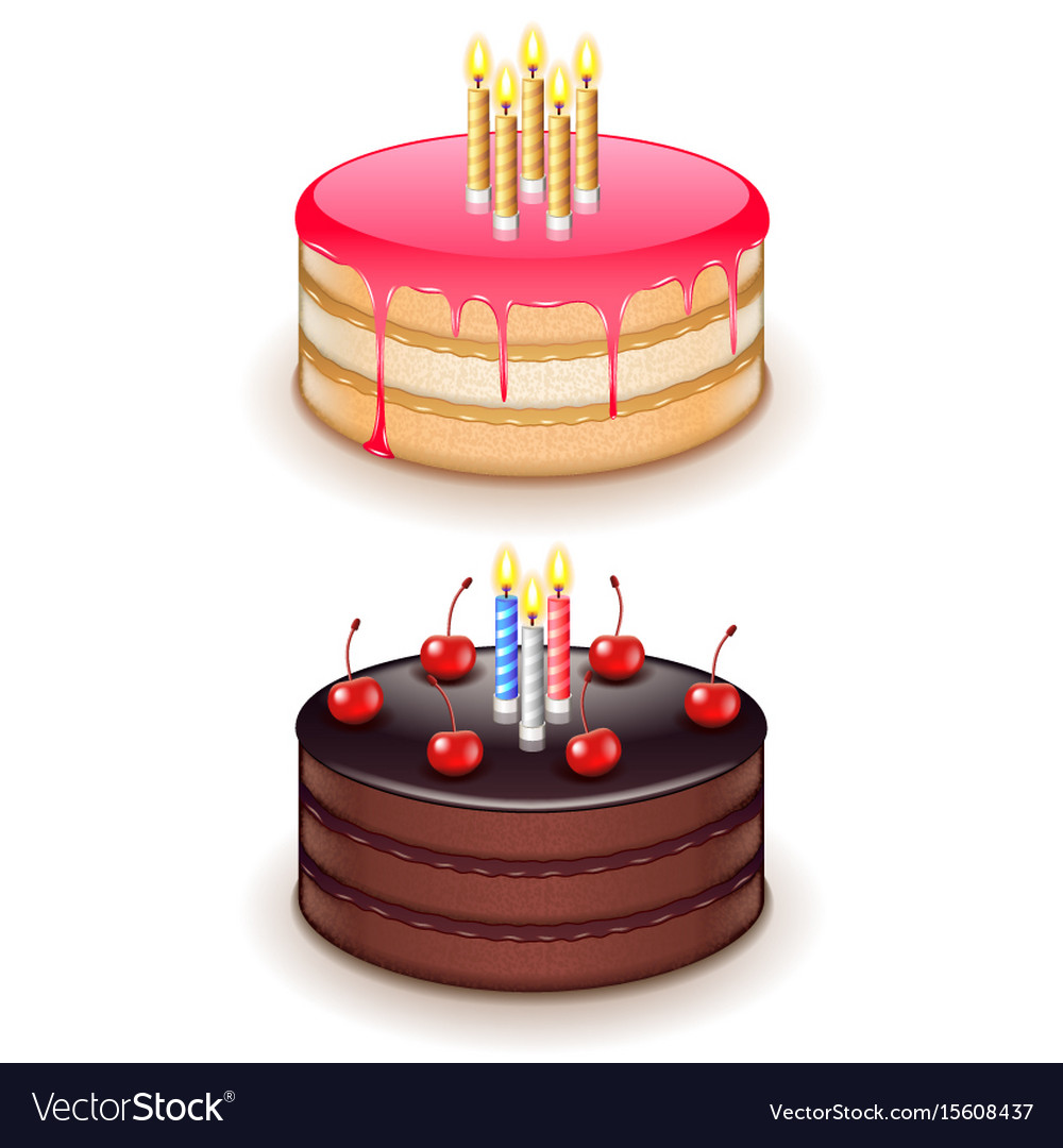 Birthday cake with candles isolated on white
