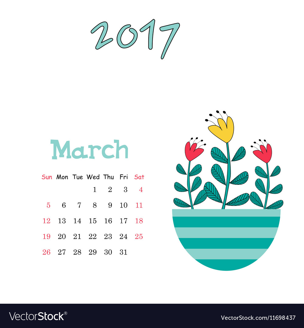 Calendar template for March 2017 with cute vector image