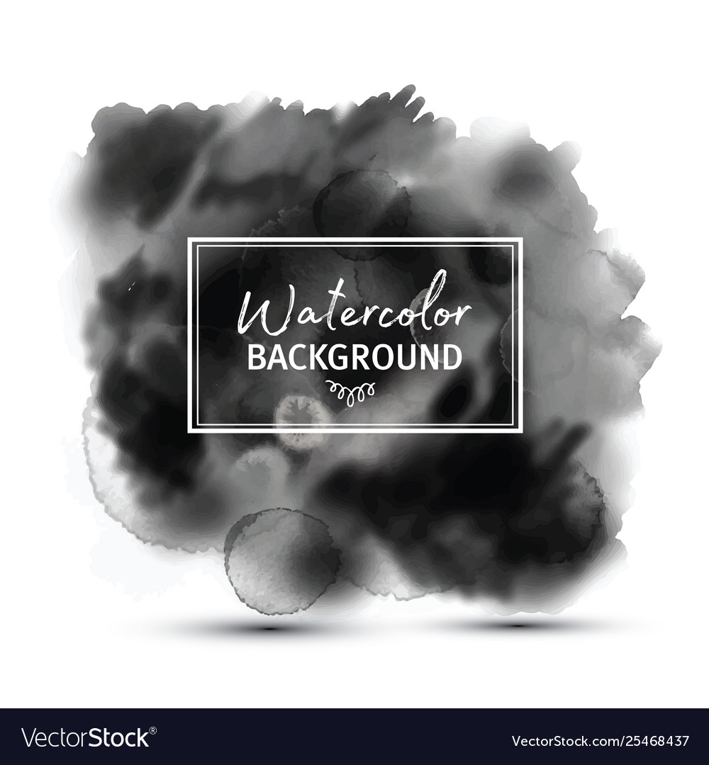 Dark gray black watercolor stains isolated
