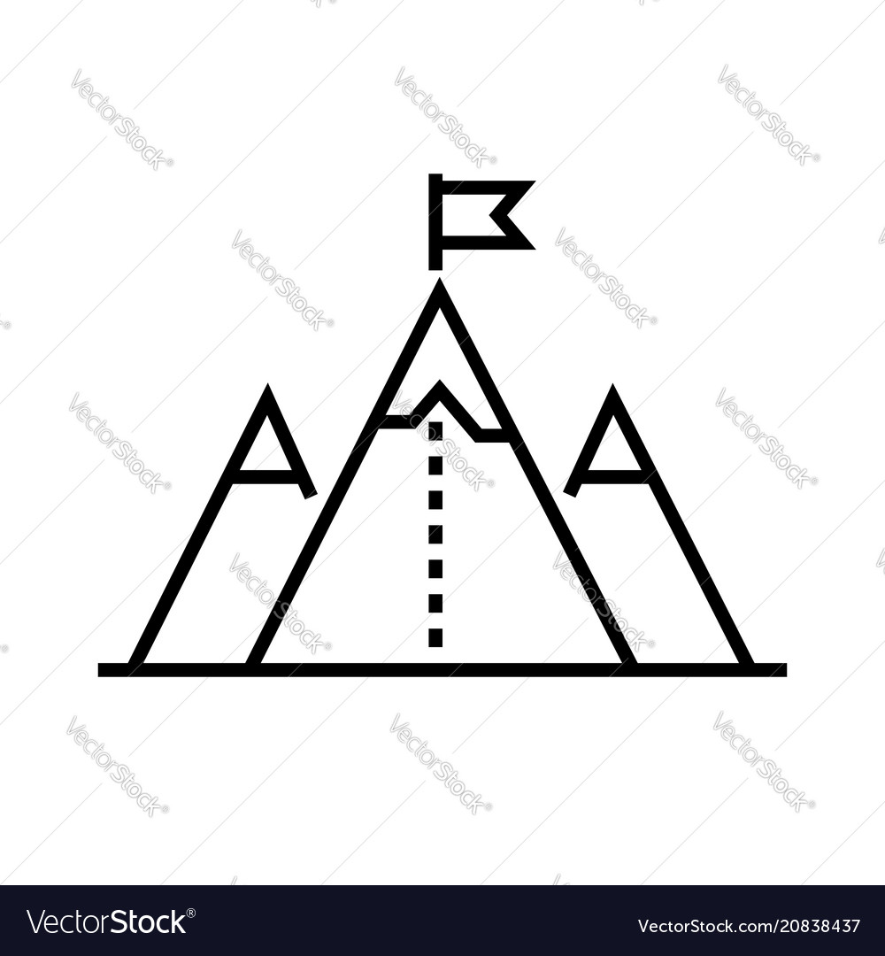 Flag on mountain top - line design single isolated