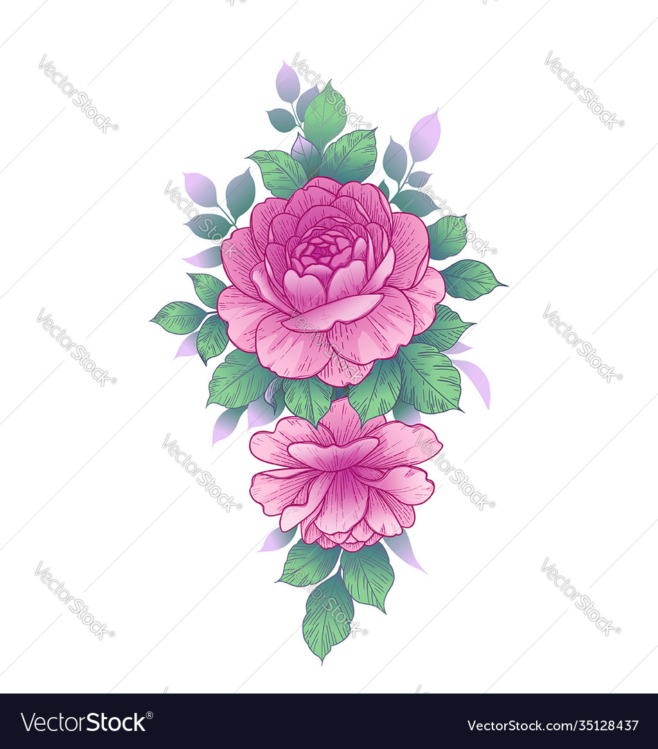 Hand drawn floral arrangement with roses