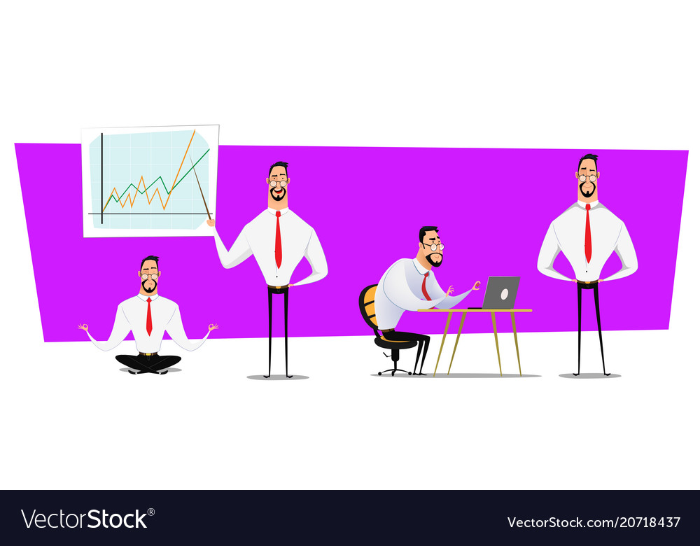 Set of businessmen cartoon character design with