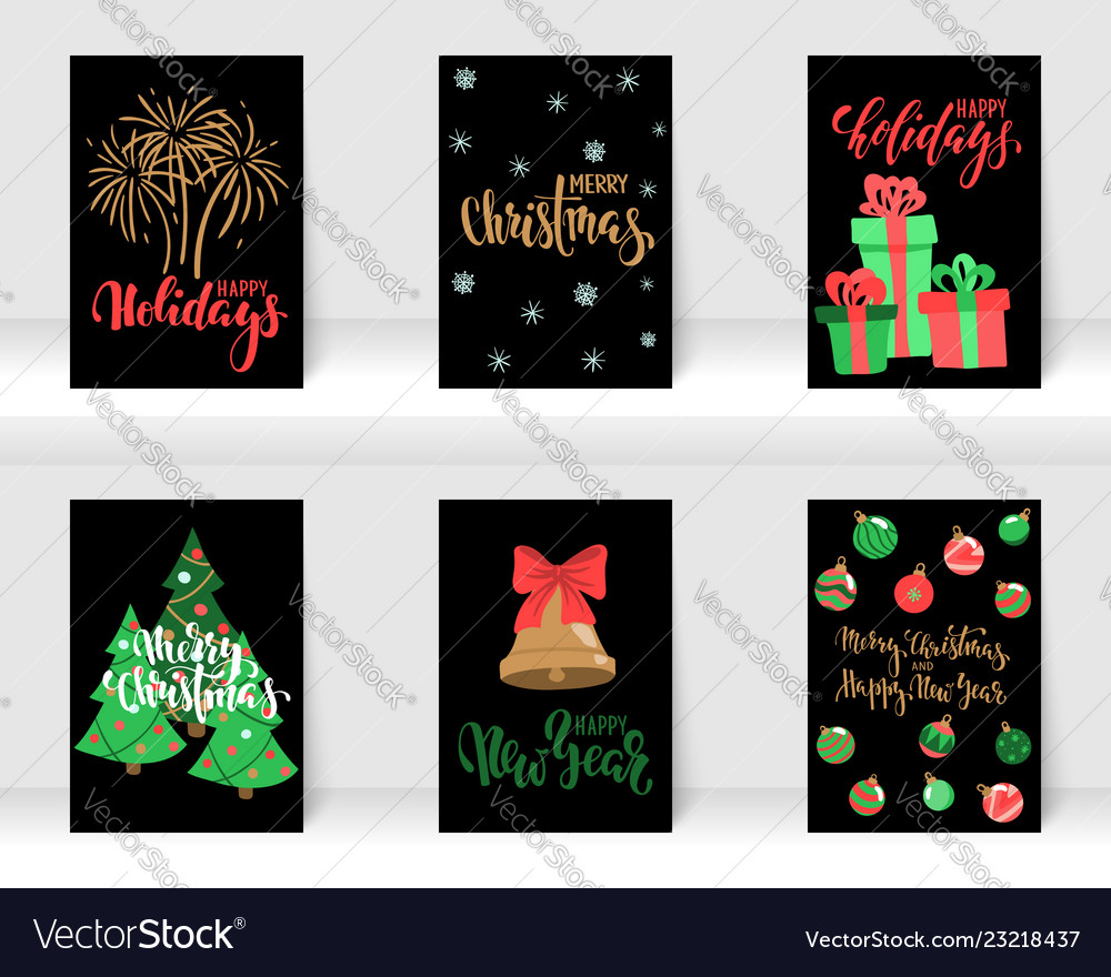 Set of christmas and happy new year greeting cards