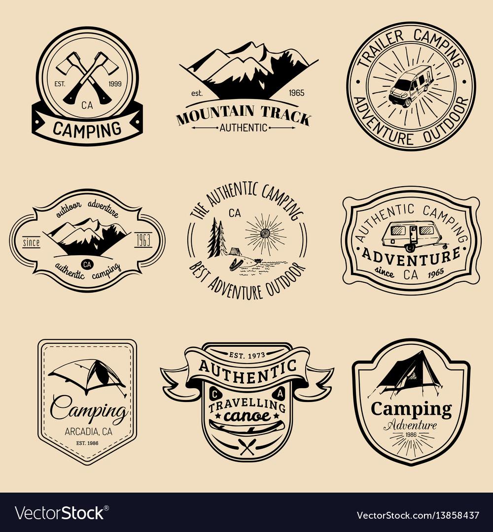 Set of vintage camping logos tourism
