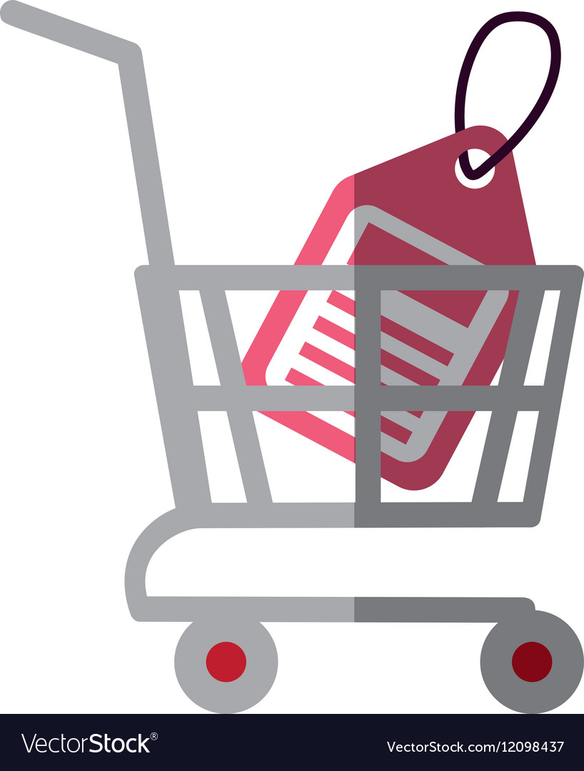 Shopping cart online price tag color shadow vector image