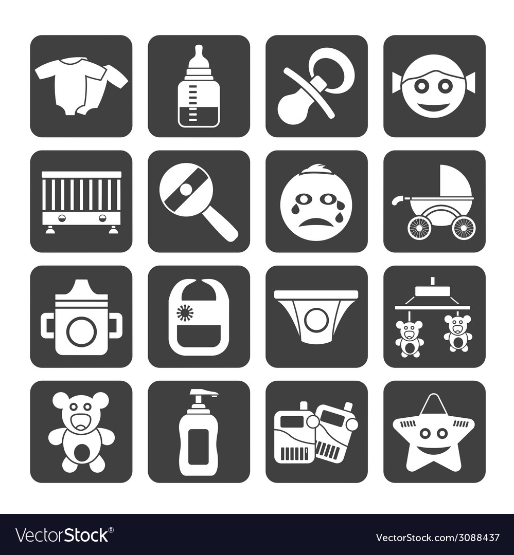 Silhouette Baby And Toys Icons Royalty Free Vector Image