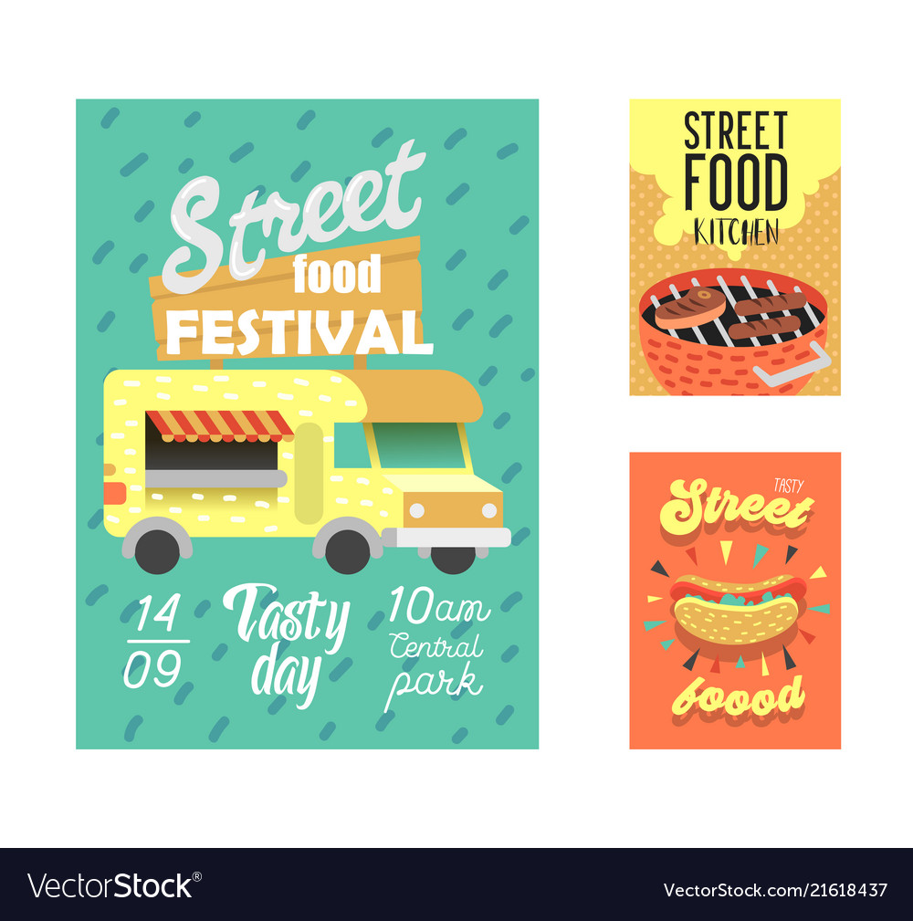 Street food festival poster fastfood outdoor event