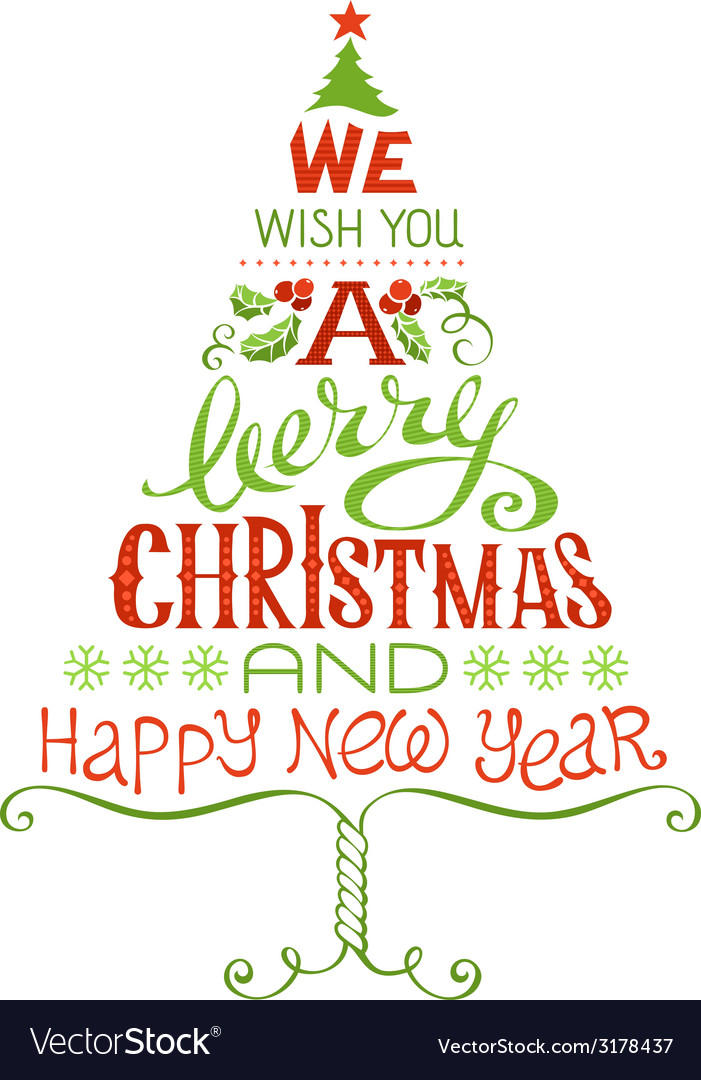 we wish you a merry christmas and happy new year vector image - Images Merry Christmas