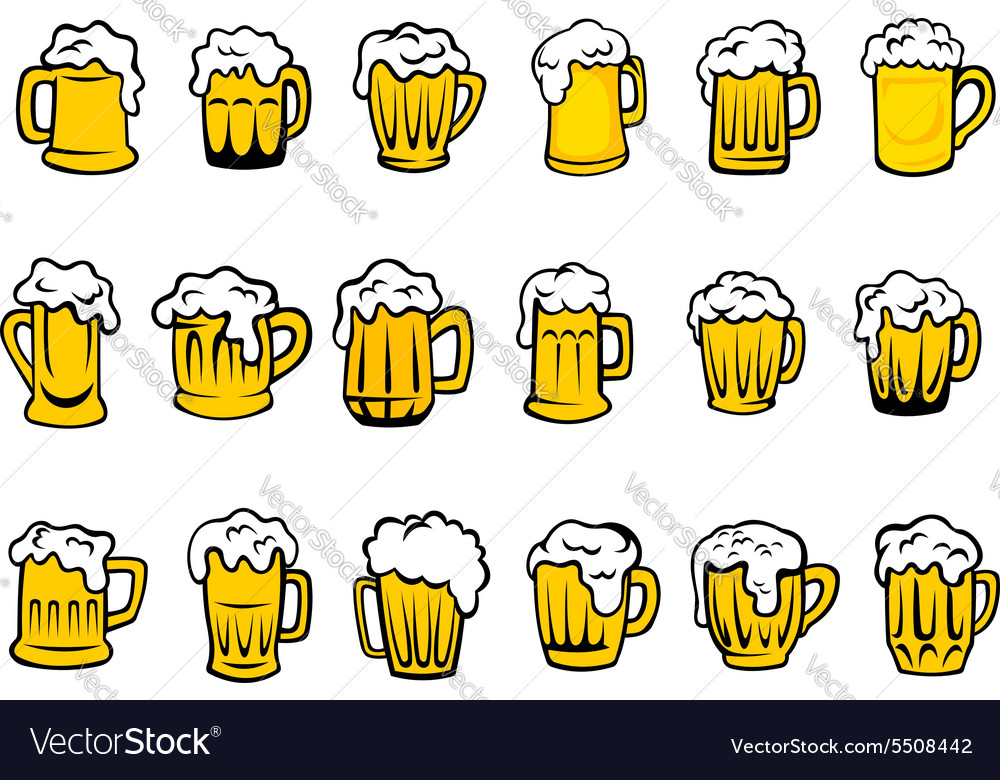Beer mugs and tankards with froth vector image