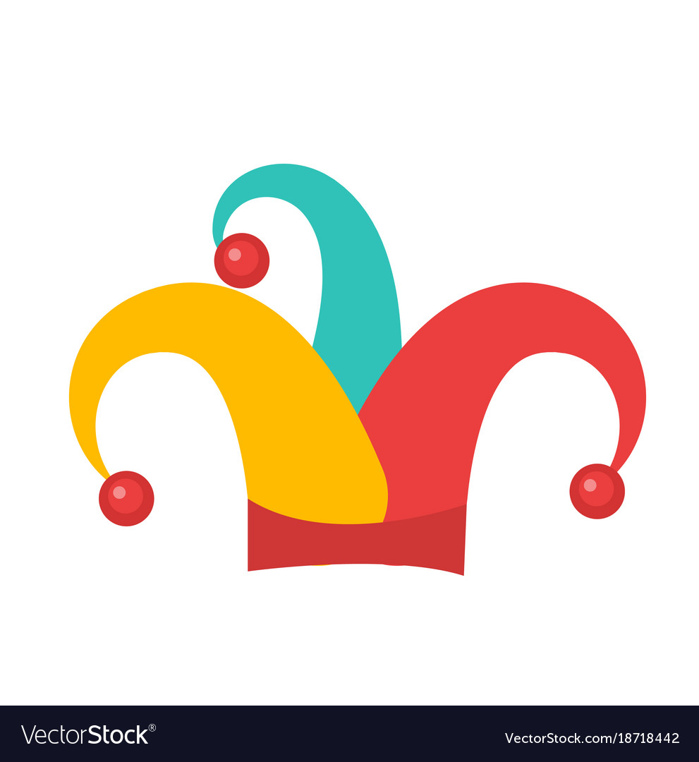 Colored jester hat icon flat style isolated on