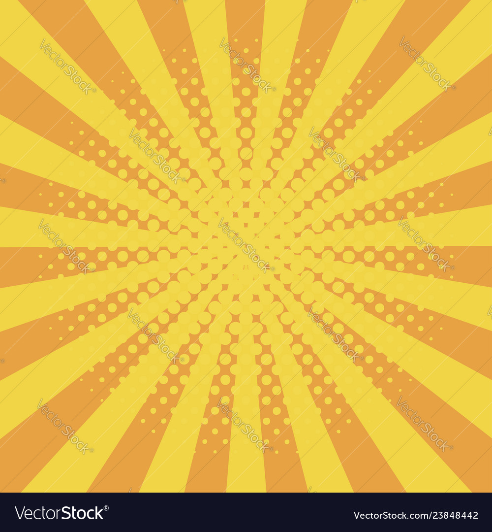 Comic background with halftone effect and sunburst