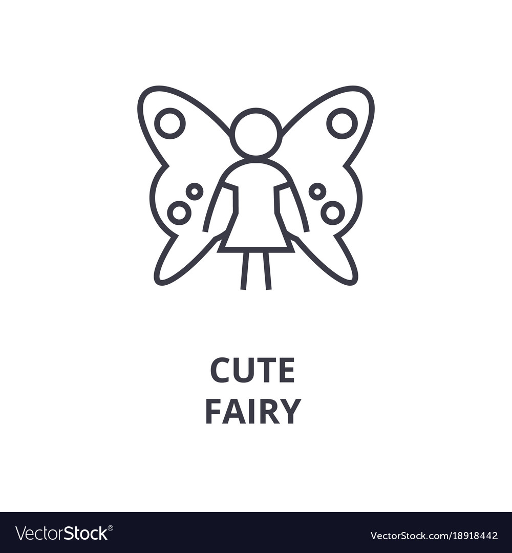 Cute fairy line icon outline sign linear symbol