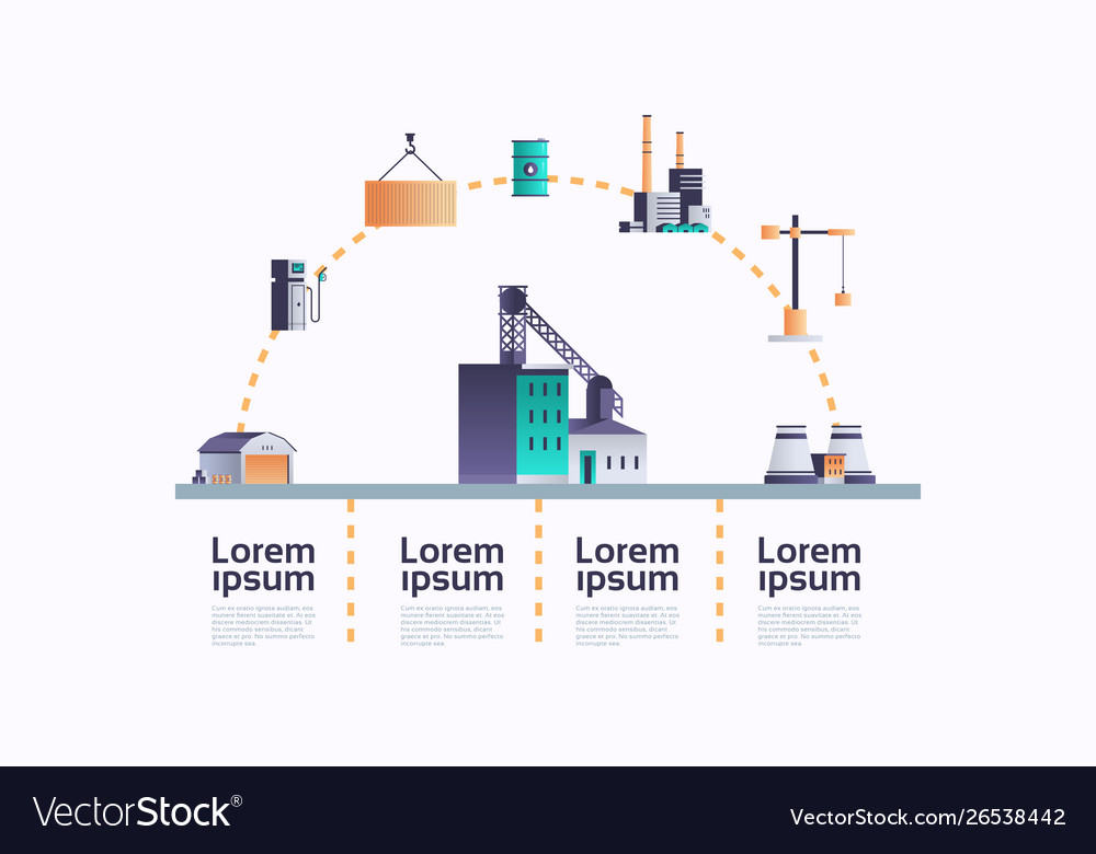 Factory building icon infographic template plant