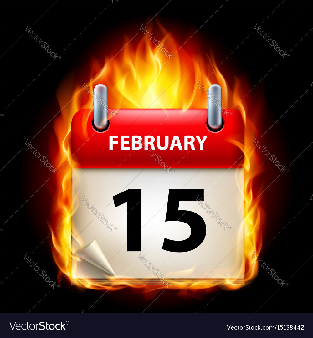 Fifteenth february in calendar burning icon on vector image