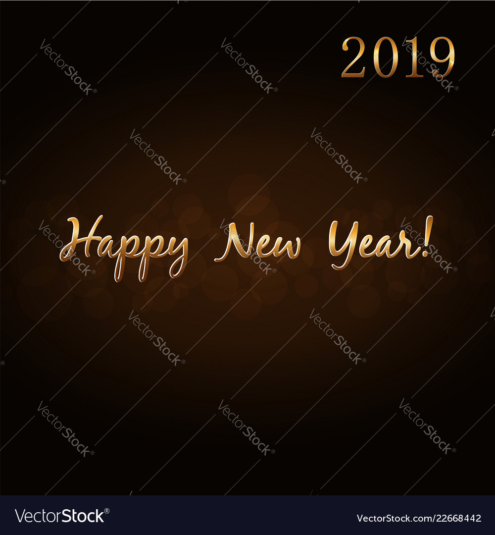 Happy new year 2019 gold text hand lettering