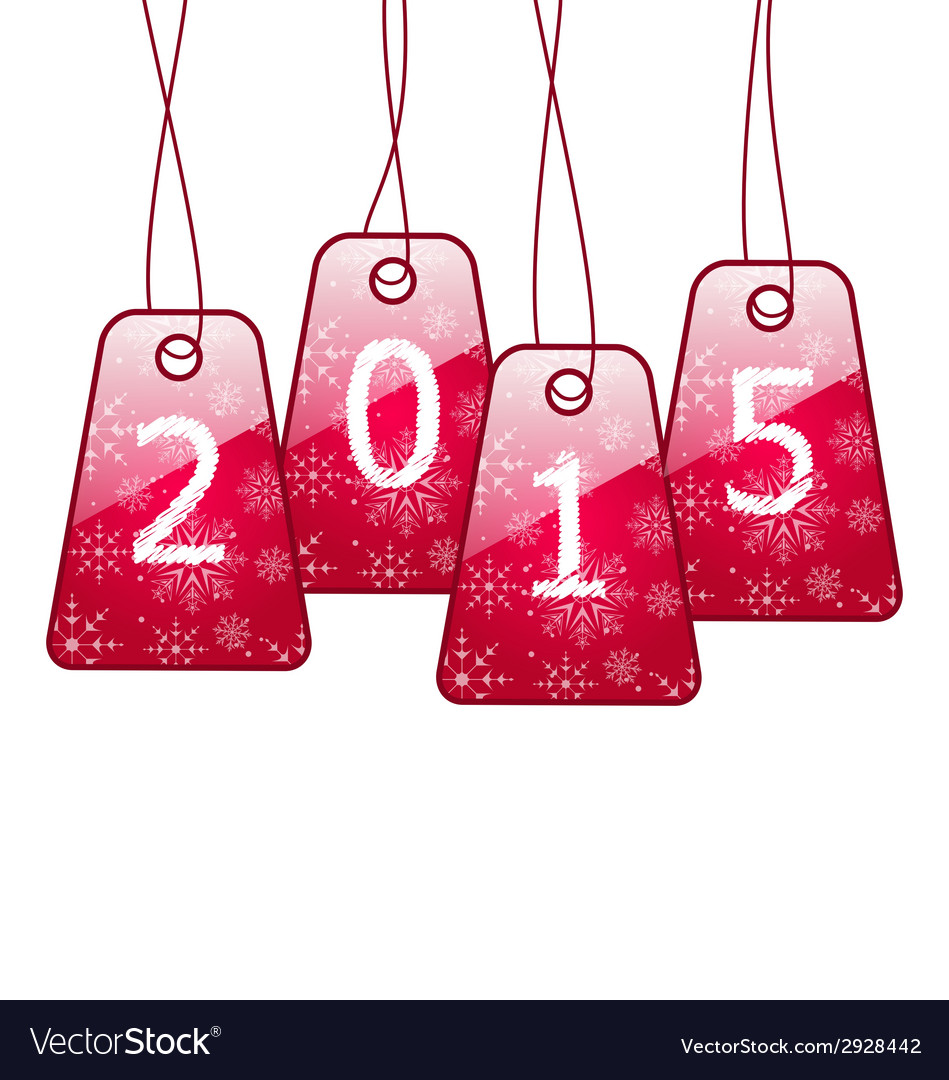 happy new year shiny labels isolated on white vector image