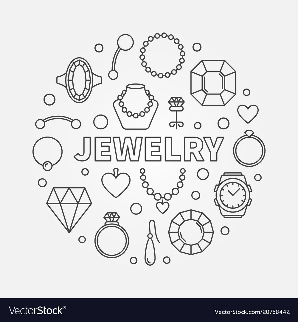 Jewelry minimal round in vector image